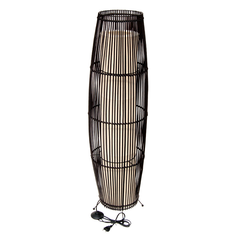 bambus rattan stehleuchte stehlampe 2 flammig dunkelbraun ca 105 cm ebay. Black Bedroom Furniture Sets. Home Design Ideas